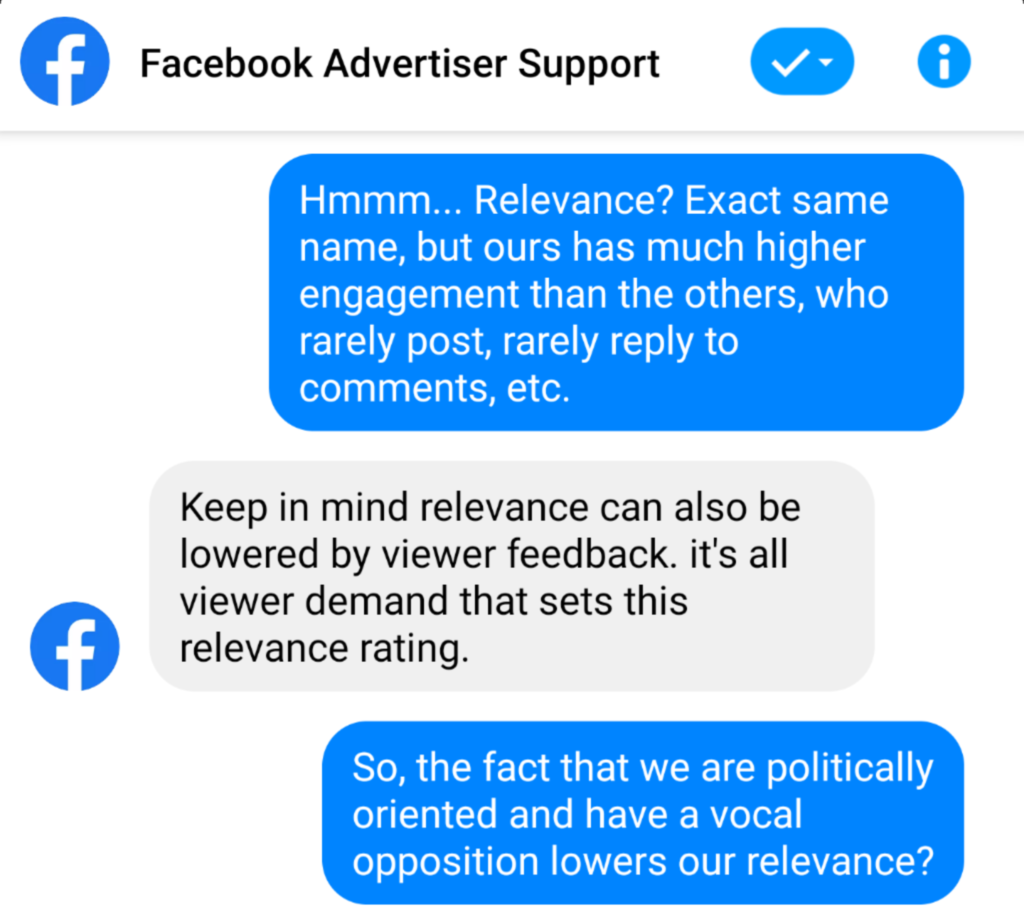 Facebook Support Dialogue: Engagement