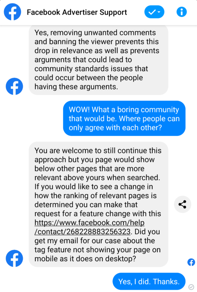 Facebook Support Dialogue: Truth Admitted